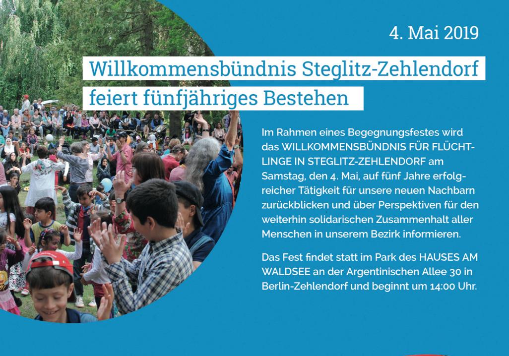 4. Mai 2019: Das Willkommensbündnis Steglitz-Zehlendorf feiert sein fünfjähriges Bestehen